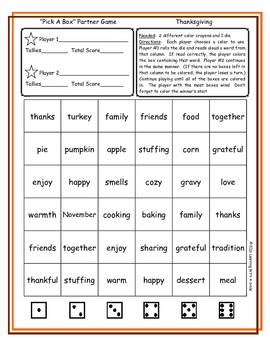 Thanksgiving FREEBIE Word Game (PICK-A-BOX) Great Literacy Center!