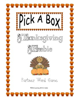 Thanksgiving FREEBIE Word Game (PICK-A-BOX) Great Literacy