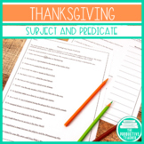 Thanksgiving Freebie Simple Subject and Simple Predicate Worksheets