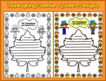 Thanksgiving Freebie...This Thanksgiving I am thankful for...