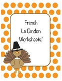 Thanksgiving: French Turkey Worksheets