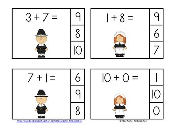Thanksgiving Friends Addition Math Centers (Sums to 10)