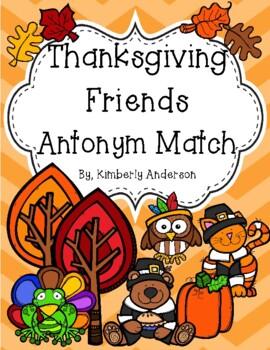 Thanksgiving Friends Antonyms Match