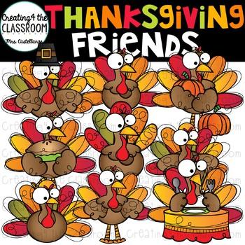 Thanksgiving Friends Clip Art {Turkey Clip Art}