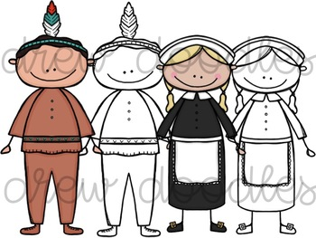 Thanksgiving Friends Digital Clip Art Set- Color and Blank Line COMBO