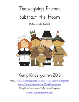Thanksgiving Friends Subtract the Room (Minuends to 10)