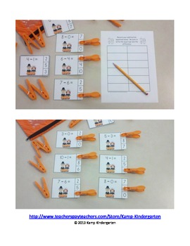 Thanksgiving Friends Subtraction Math Centers (Minuends to 10)