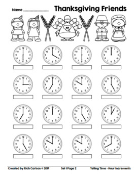 Thanksgiving Friends Telling Time 1 Hour Increments! Time FUN! (Black Line)