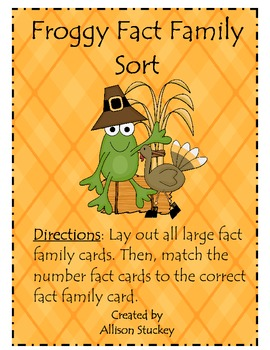 Thanksgiving Froggy Fact Family Sort