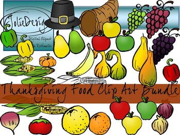 Thanksgiving Fruit and Vegetable Food Clipart - Color and Line Art HUGE bundle