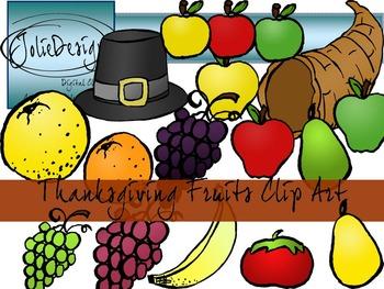 Thanksgiving Fruits Clip Art - Color and Line Art 26 pc set