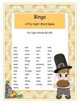Thanksgiving Fry Sight Words 101-150 Bingo Game