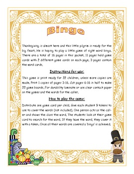 Thanksgiving Fry Words 251-300 Sight Word Bingo Game