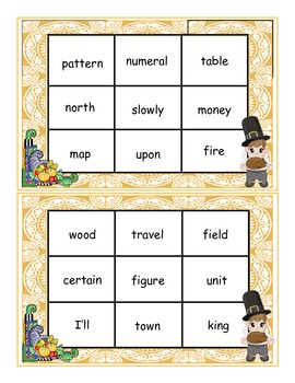 Thanksgiving Fry Words 351-400 Sight Words Bingo Game