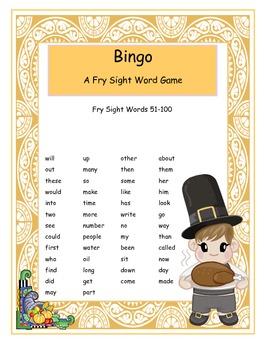 Thanksgiving Fry Words 51-100 Bingo Game