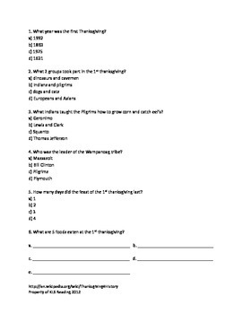 Thanksgiving - Full History Questions 8 Activities Full Review