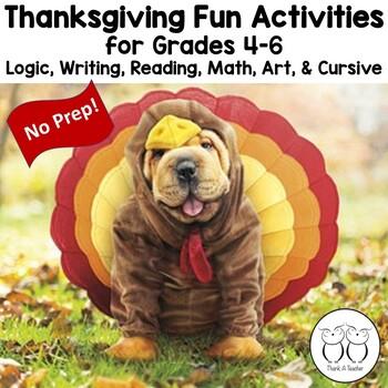 Thanksgiving Fun Activities Upper Grades Logic Writing Reading Math Art Cursive