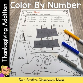 Thanksgiving Color By Numbers Thanksgiving Math Addition Facts