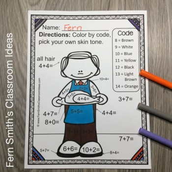 Thanksgiving Color By Numbers Thanksgiving Math Addition and Subtraction Bundle