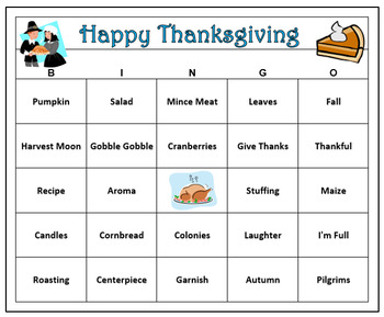 Thanksgiving Fun Bingo Game-60 Bingo Cards with Call Words
