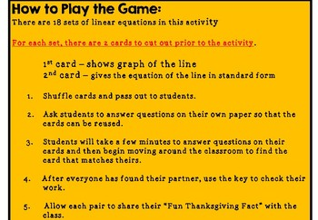 Slope Intercept - Find Your Partner Activity (Fun Thanksgiving Facts Included)