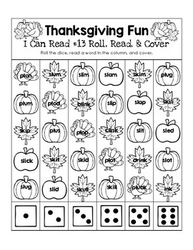 Thanksgiving Fun - I Can Read It! Roll, Read, and Cover (Lesson 13)