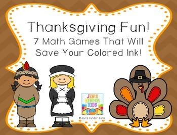 Thanksgiving Fun~ Ink Saving Math Centers!