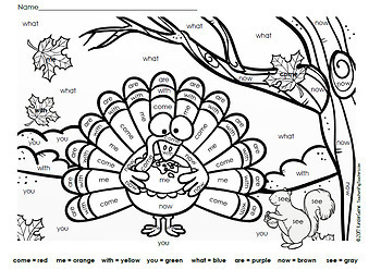 Thanksgiving Color By Sight Words - Kindergarten - Journeys Units 1 to 3 - Dolch