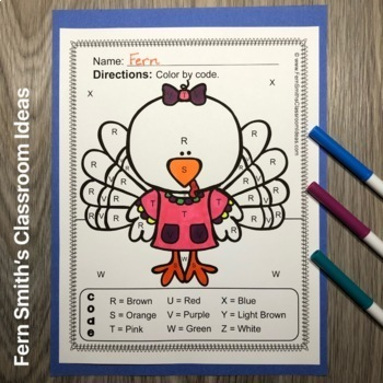 Color By Code Thanksgiving Letters and Numbers Bundle
