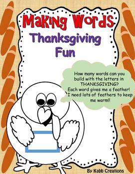 Thanksgiving Fun.... Making Words Challenge!