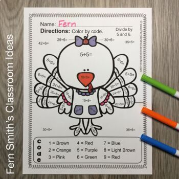 Color By Numbers Thanksgiving Math Mixed Division Facts