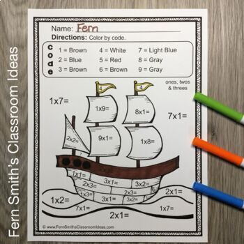 Color By Numbers Thanksgiving Mixed Multiplication Facts