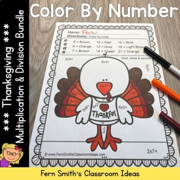 Color By Numbers Thanksgiving Math Mixed Multiplication and Division Bundle