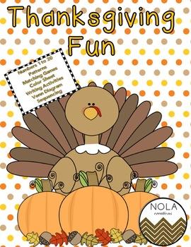 Thanksgiving Fun- No Prep Math and Literacy Activity Pack