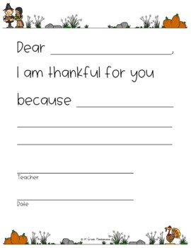 Thanksgiving Fun Pack Sample: Your Teacher is Thankful For You FREEBIE!