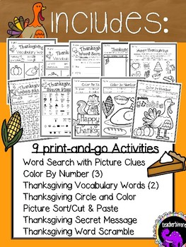 Thanksgiving Fun Pack for First Grade