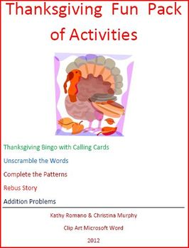 Thanksgiving Fun Pack of Ideas for the Little Ones
