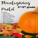 Thanksgiving Fun Packet With Math Problems Grades 3-5