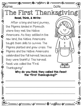 Thanksgiving Packet Grades 1 and 2