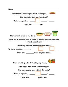 Thanksgiving Math - Second Grade