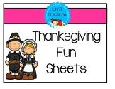 Thanksgiving Fun Sheets