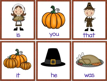 Thanksgiving Activities: Fry Sight Words Game