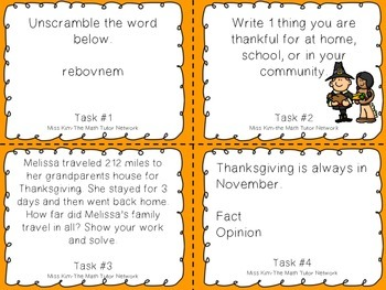 Thanksgiving Fun Task Cards