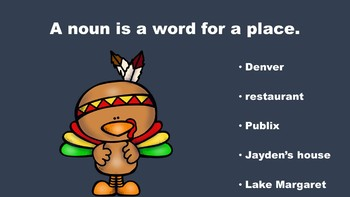 Thanksgiving Fun With Nouns - A PowerPoint Game