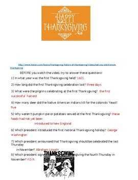 Thanksgiving Fun - engaging video clip and Q&A