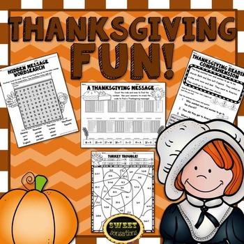 First Grade Thanksgiving Math and ELA Activities