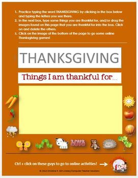 Thanksgiving Fun for Little Ones--MS Word & Internet Activities for Grades K-2