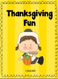 Thanksgiving Word Work -ing  -th  -ur