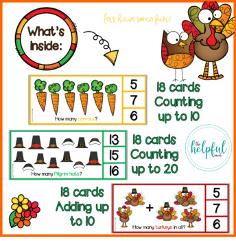 Thanksgiving fun with Todd Turkey + Olive Owl - Counting Clip Cards + addition