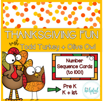 Thanksgiving fun - Number Sequence Cards (skip counting by 1, 2, 3, 5, and 10)